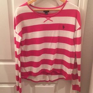 U.S. Polo Assn. Pink & White Sweater